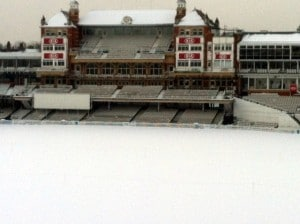 The Oval cricket ground under snow