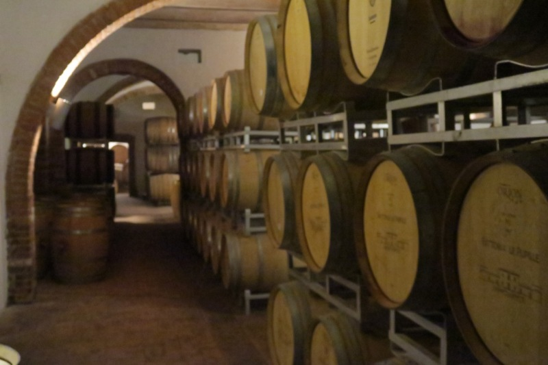 barrel room at Le Pupille