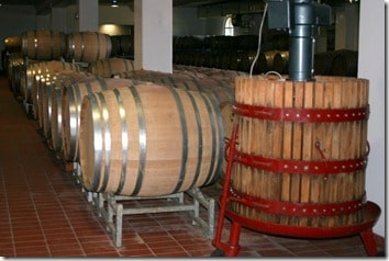 barriques and old press for Moscadello