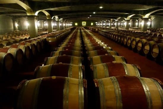 The white wines of Graves ageing in the barrel cellar