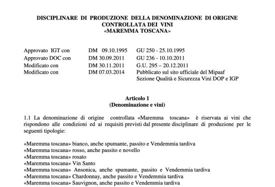 Maremma DOC Rules