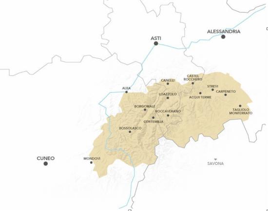 Piemonte's sparkling wine tradition: Map of Alta Langa DOCG