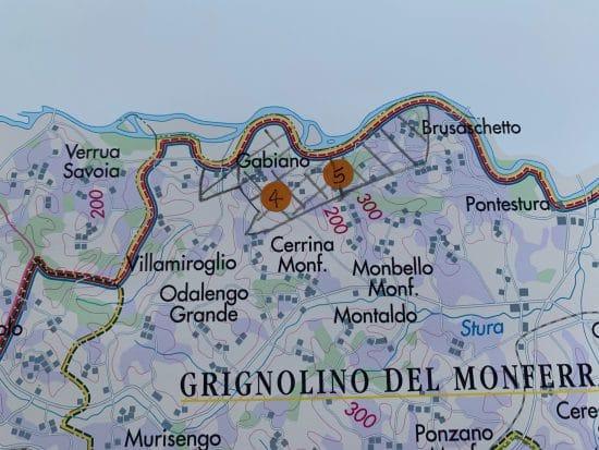 Wine map of southern Piemonte - Gabiano and Rubino di Cantavenna